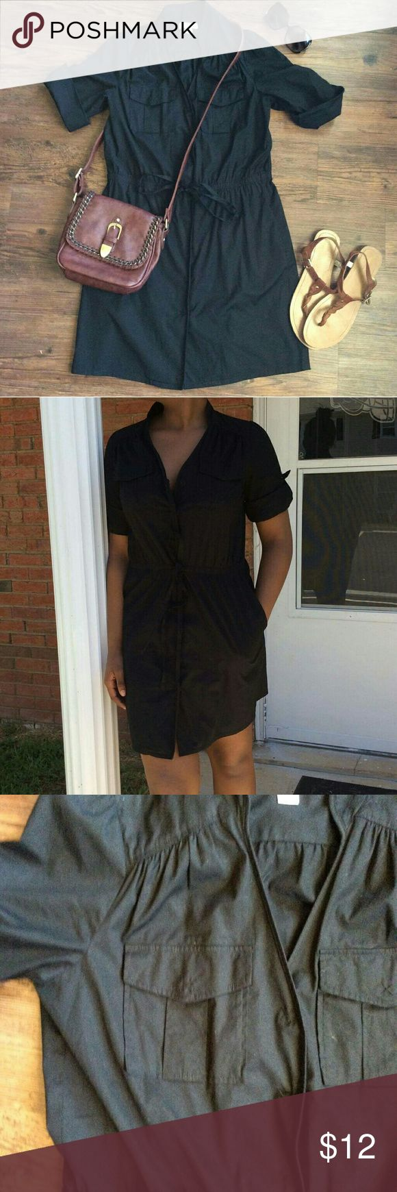 OPEN TO OFFERS! LOFT Black Button Down Dress Pretty Ann Taylor LOFT Black button down dress.  Size: 6P 97% cotton 3% spandex LOFT Dresses