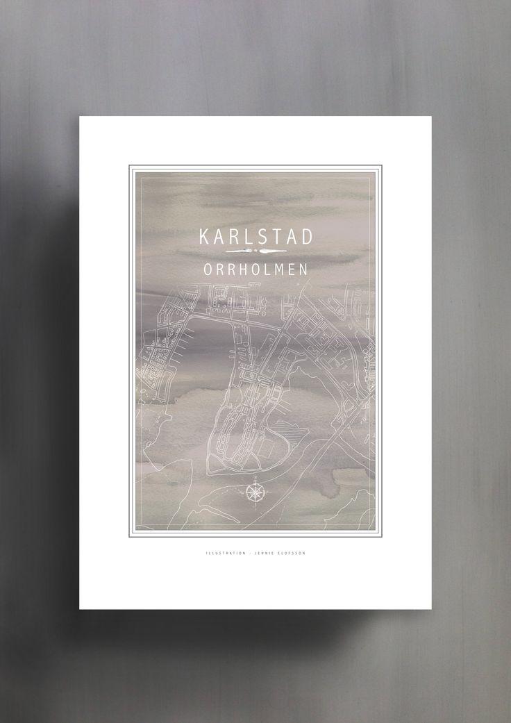 KARLSTAD | ORRHOLMEN | GRÅ | © Line of Art by Jennie Elofsson Handtecknad karta med mulvadsgrå akvarell i bakgrunden. Finns i åtta färger och tre storlekar. In och hitta din favorit!    Hand-drawn map with a soft grey watercolor background. Available in eight colors and three sizes. Find your favorite!    Kartposter, map poster , print , poster , art print, illustration, lineofart, kalkfärg