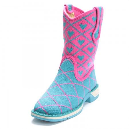 Laredo Girls Comet Perform Air Square Toe Cowboy Boots Blue/Pink
