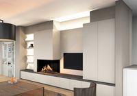 Gashaard Kal-Fire Eco Prestige, ingebouwd in een moderne kastenwand met de TV geïntegreerd. De sokkeluitbouw onder het tablet in natuursteen is voorzien van schuiven en lades.