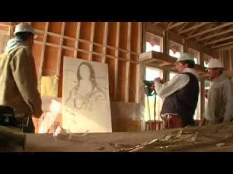 Insane Nail Gun Skills!!! Monalisa picture out of nails!!!