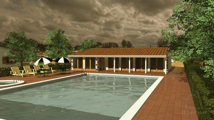 Condomínio Changara - Perspetiva do Equipamento de apoio e piscina. Tete (Moçambique). Julho 2012