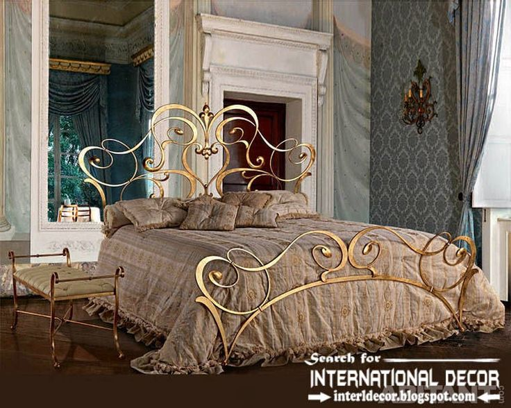 Wonderful Royal Italian Golden Wrought Iron Bed And Headboard 2015 For Luxury Bedroom Images