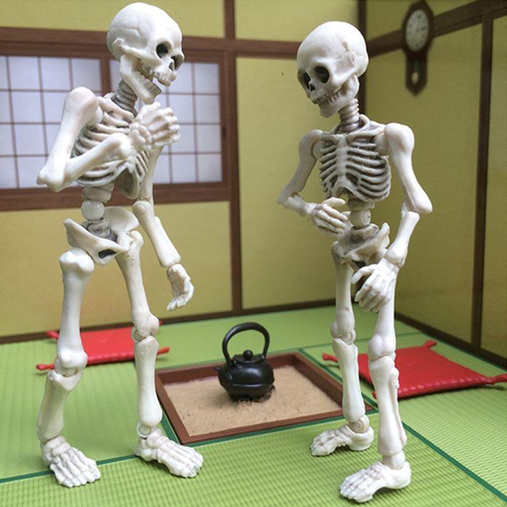 Beweglichen Mr. Bones Skeleton Menschmodell Schädel Voll Körper Mini Figur Spielzeug Halloween
