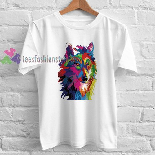 Color head Wolf t shirt gift tees unisex adult cool tee shirts