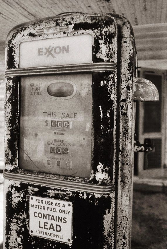 Old Gas PumpAbandoned Gas StationBlack and by MoonLightDrivePrints, $20.00