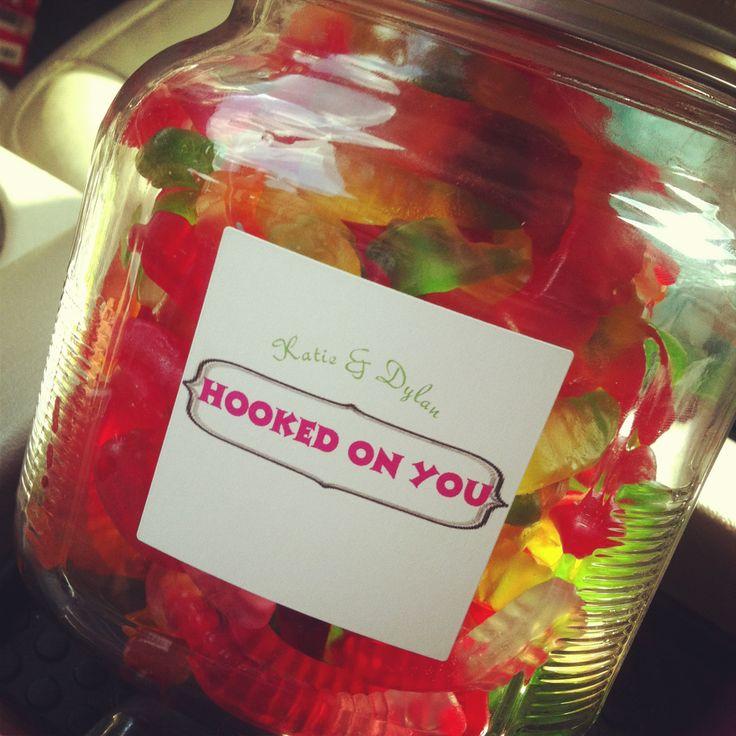 His anniversary gift ;) love him! Bait gummy worm jar<3