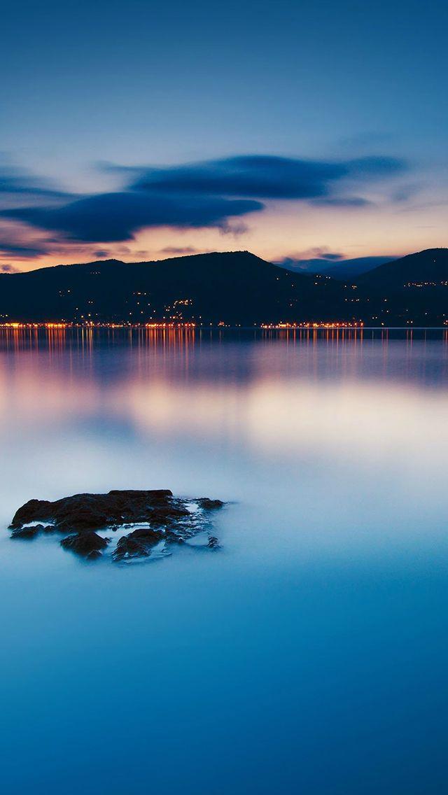 Nature Peaceful Lake Night Cityscape Seaside #iPhone #5s #wallpaper
