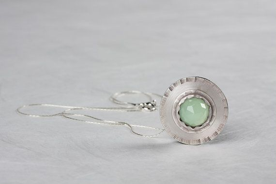 Aquamarine Pendant, Circular Pendant, Sterling silver necklace, Handmade, Green Aquamarine stone, Silver pendant, Statement Necklace