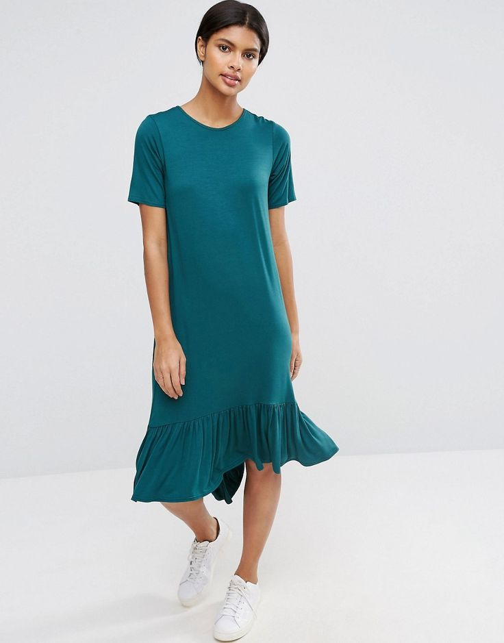 ASOS+Frill+Hem+Midi+T-Shirt+Dress