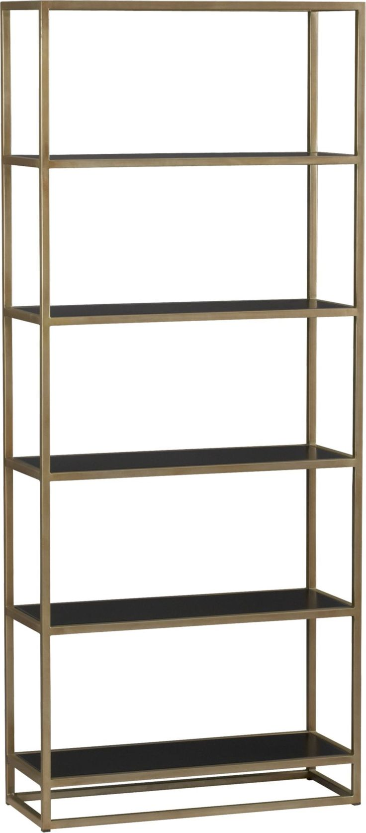 Elegant bookcase rises high in two tones of finished steel to store books and collectibles.  Slender frame is finished in a warm antiqued brass inset with handsome black powdercoat shelves. Mild steel shelves with black powdercoat finishMild steel tube frame with antiqued brass finishMade in India.