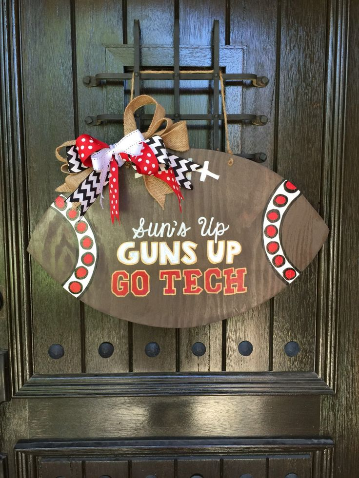 A personal favorite from my Etsy shop https://www.etsy.com/listing/469663333/texas-tech-football-door-hanger-wooden