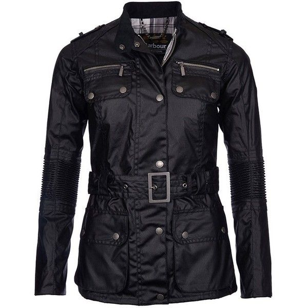 Women's Barbour International Chain Wax Jacket - Black ($390) ❤ liked on Polyvore featuring outerwear, jackets, waxed cotton motorcycle jacket, motorcycle jacket, barbour international jacket, waxed cotton jacket and barbour international