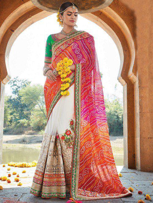 Pink and White Net Saree with Zari Work