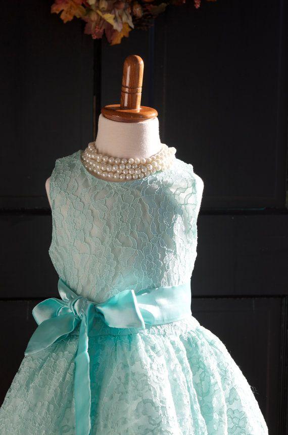 Aqua Mint Lace Flower Girl Dress Mint Lace dress mint