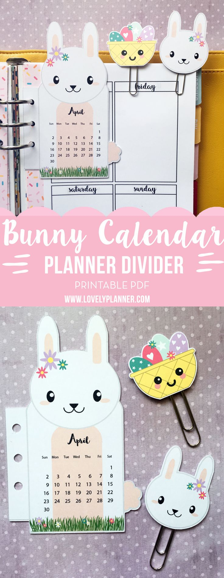 Free April Bunny Rabbit Calendar Divider with Paper Clips from Lovely Planner.  Subscribe to the newsletter to get a new Calendar every month.