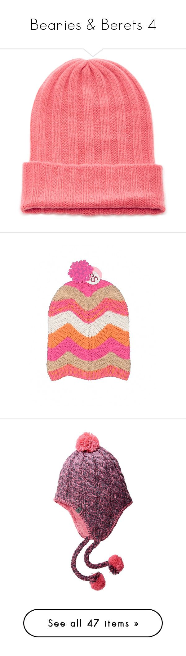 """""""Beanies & Berets 4"""" by middletondonna ❤ liked on Polyvore featuring accessories, hats, pink, pink beanie, adjustable hats, ribbed hat, cashmere beanie, bunny hat, acrylic hat and pink beanie hat"""