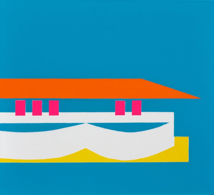 """""""Five Flags Flying - Jubilee Pool"""" (2011) ~  22in x 20in ~ acrylic on canvas"""