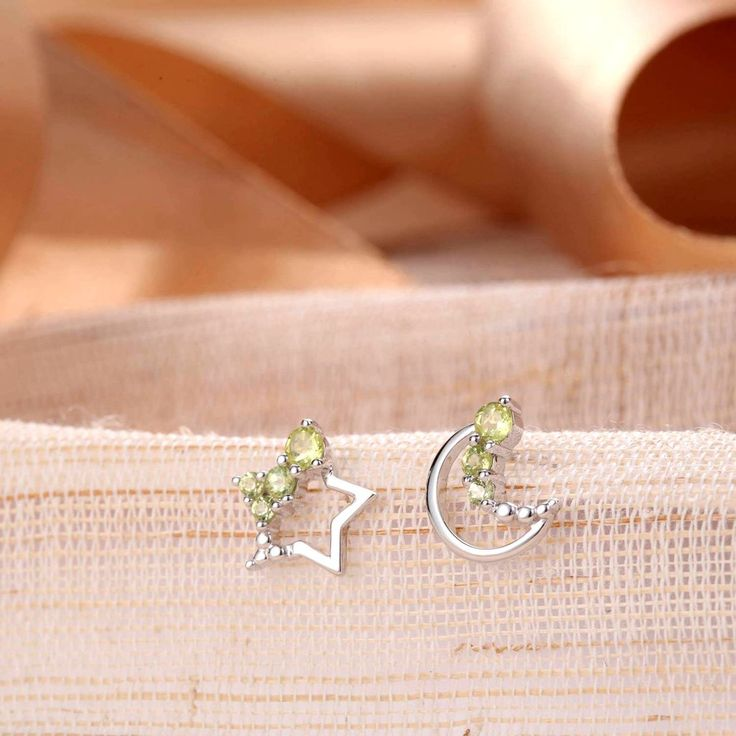 UneJoux Sterling Silver Adira Earrings With Peridot - UneJoux