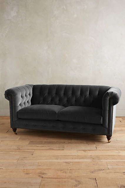 Velvet Petite Lyre Chesterfield Sofa, Hickory - anthropologie.com