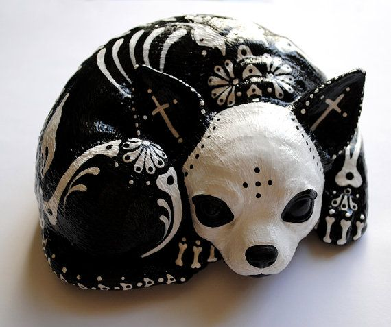 Day of the Dead Chihuahua by thehouseofsugarSkull, Horrific Finding, Art, Of The, Dark Side, Dead Cat, Dead Chihuahuas, Dead, Day