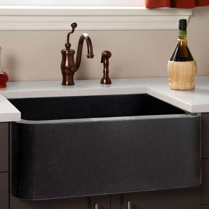 "24"" Polished Granite Farmhouse Sink - Black"