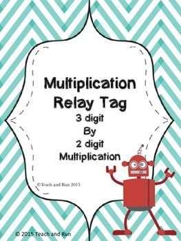 This math activity will have your students begging to play again! Students will work in teams to race against others to be the first to complete 3 digit by 2 digit multiplication problems correctly. Just like a relay race, the problems are worked by one person at a time, once completed, they race back to their team and hand off the answer sheet to the next person.