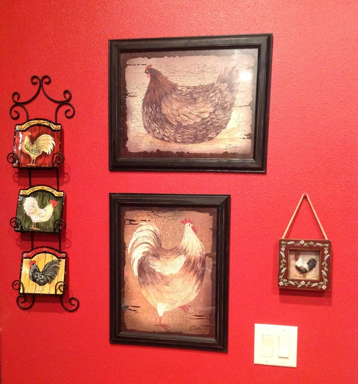 Roosters rooster kitchen and kitchen walls on pinterest - Rooster wall decor kitchen ...