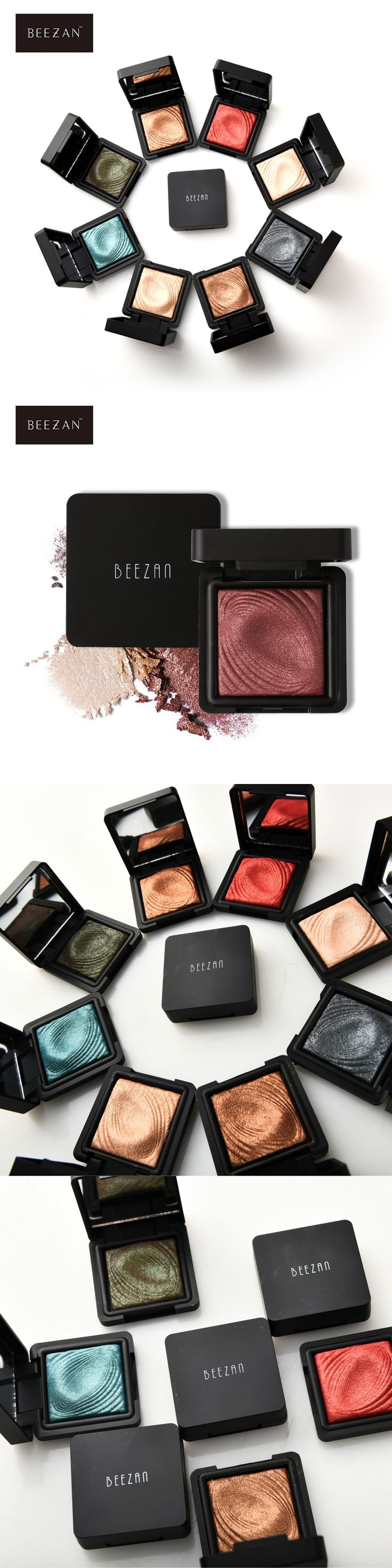 BEEZAN 8 Colors Metallic Glitter Bright Single Eyeshadow Palette Excellent Powder Makeup Pigment Shimmer Waterproof Eyeshadow