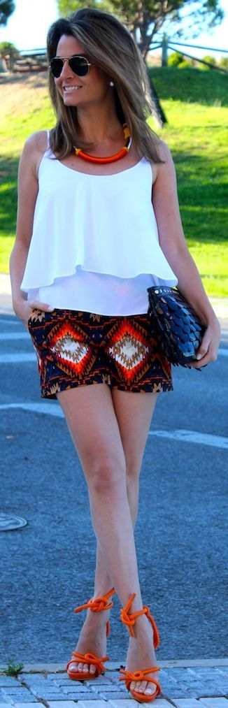 Zara Multicolor Women's Ethnic Print Shorts by Oh my Looks