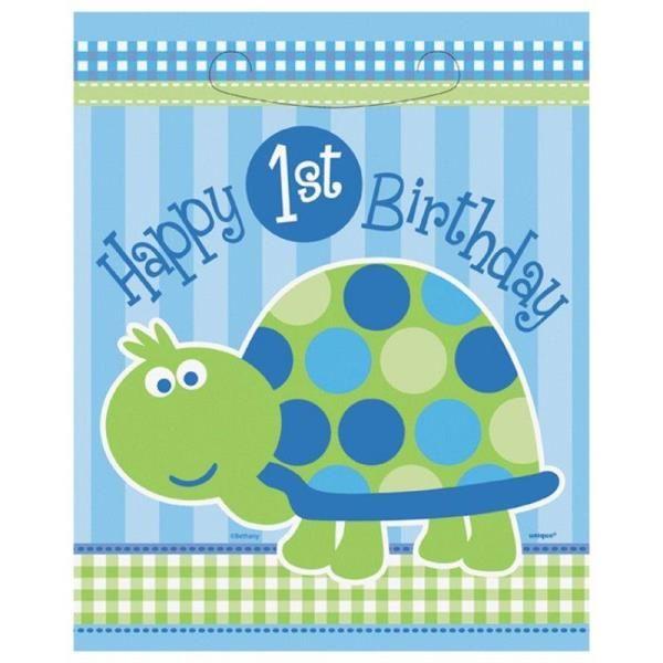 Kaplumbağalı 1 Yaş First Birthday Mavi Renk Parti Poşeti 8 Adet