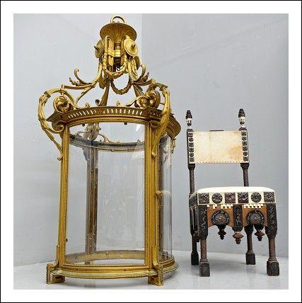 Lampadario grande Lanterna in bronzo dorato al mercurio
