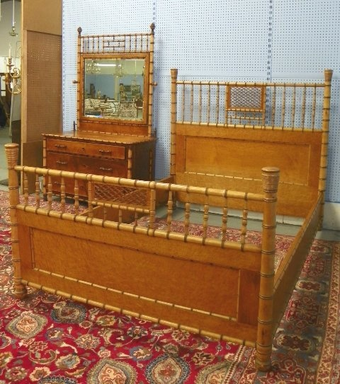 American, R.J. Horner, Two Piece Faux Bamboo Bedroom Set.
