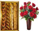 Send online red roses in vase with assorted sweets box to Hyderabad from our website. Secured online gifts delivery to Hyderabad. Visit our site : www.flowersgiftshyderabad.com/Diwali-Gifts-to-Hyderabad.php