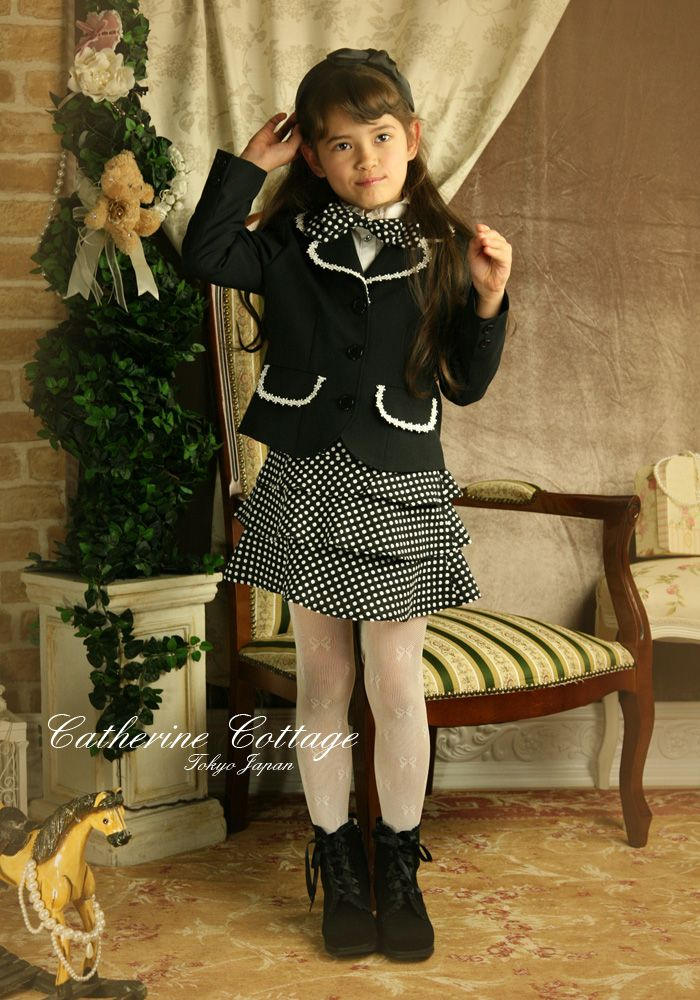 ガールズ4点スーツ セット ジャケット、ブラウス、蝶ネクタイ、ドット柄スカート  子供ドレス KIDS キッズ ハイネック 長袖 結婚式 七五三