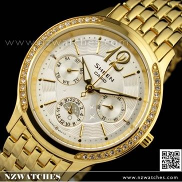 BUY Casio Sheen Gold Ion Plated SWAROVSKI Ladies Watch SHE-3030GD-7A, SHE3030GD - Buy Watches Online   CASIO NZ Watches