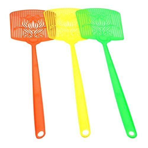 HuaYang 3 Pcs Bug Insect Fly Pest Mosquito Swatters Racket Handle Killer Random Color