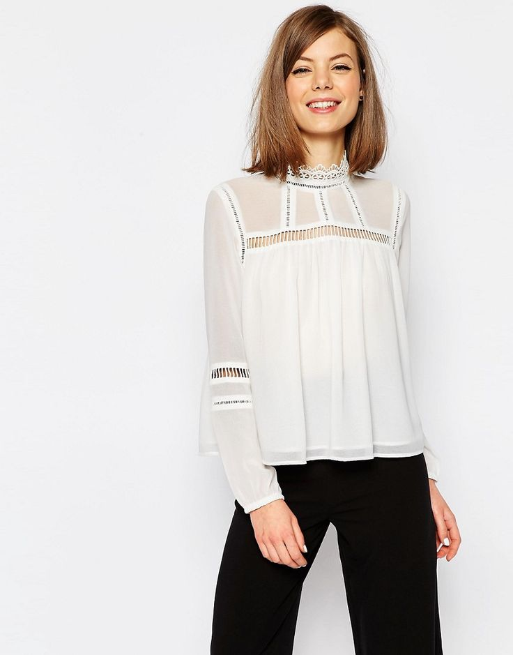 Image 1 of ASOS Lace Insert High Neck Blouse