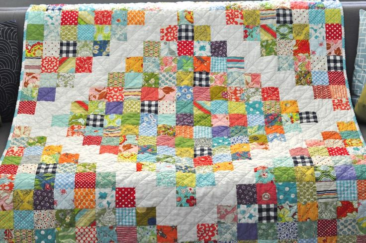 """I am loving scrap quilts lately. I am calling this one """"Potluck*"""" because it's a hodgepodge of lots of favorites all combined for o..."""