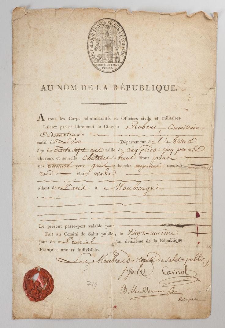 Document signé entre autres par Robespierre et Billaud-Varenne
