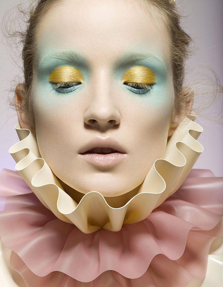 Alek Alexeyeva mint and yellow makeup