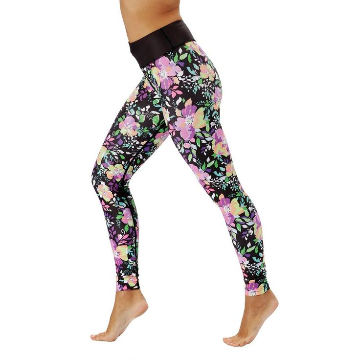 Delicate flowers take centre stage in our newest collection of workout wear:   The neon flowers on black complement any skin tone, as well as hugging you in all the right places, so you'll feel like a floral goddess – a goddess with gains.  Whatever workout you're doing, these sexy and stylish full-length gym leggings are the perfect workout partner.
