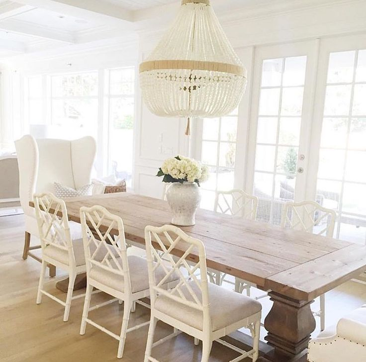 warm white wood table beaded