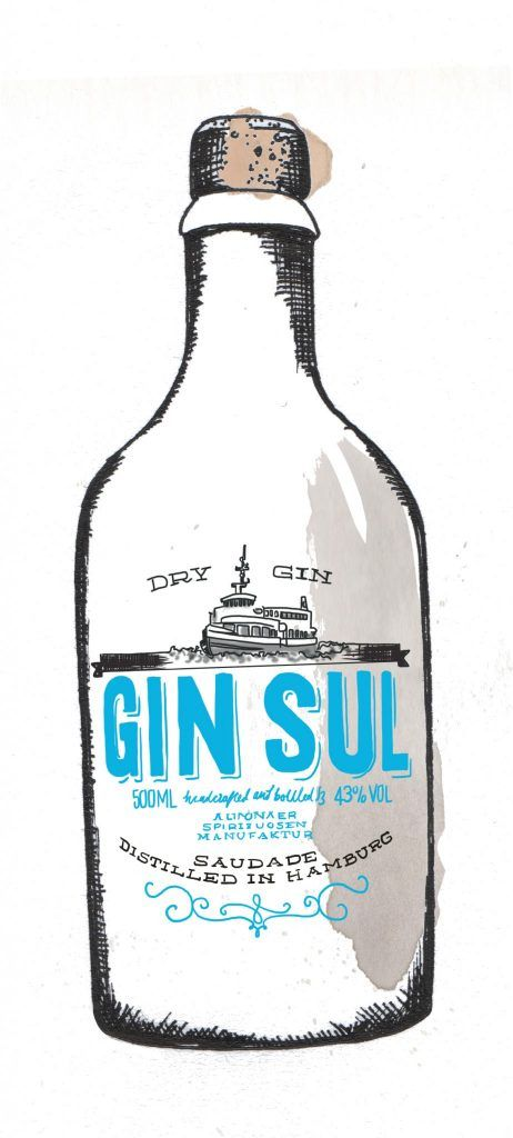 Gin Sul Gin Bottle Watercolour Illustration. Click the 'visit' link to commission your own choice of gin illustrations