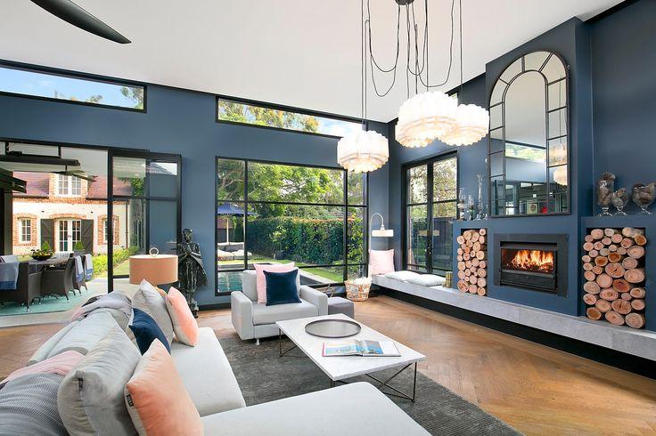 Herringbone oak floors, gas fire