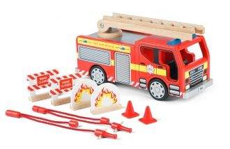 A highly detailed fire engine that encourages imaginative play. It also features an extendable ladder, two side hatches and re-positionable steering wheel. The set also includes two full fire hoses with nozzles, two traffic cones, two barricades and two fires. All compatible with Tidlo Firefighters.