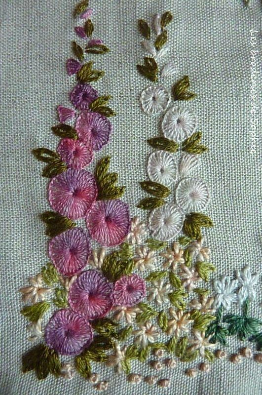 ♒ Enchanting Embroidery ♒ embroidered hollyhocks