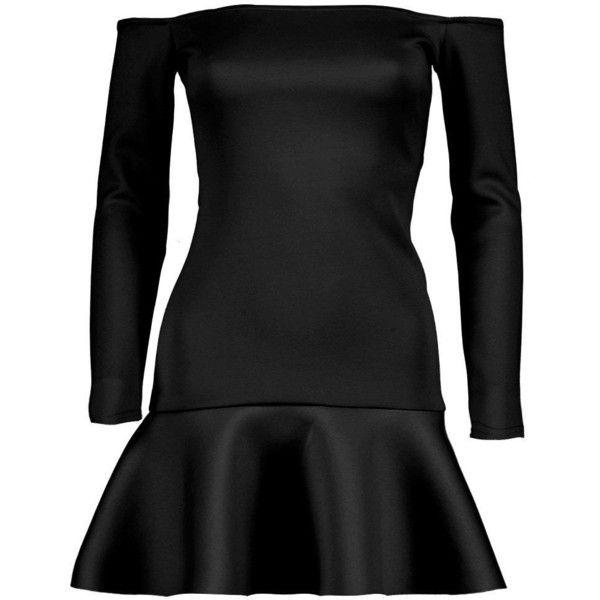 Boohoo Petite Sadie Bardot Peplum Hem Dress ($25) ❤ liked on Polyvore featuring dresses, petite cocktail dress, peplum dress, petite peplum dress, petite dresses and boohoo dresses