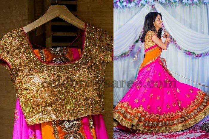 Bride in Pink Half Saree | Saree Blouse Patterns