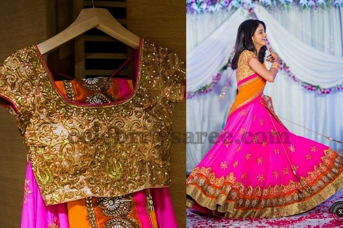 Bride in Pink Half Saree | Saree Blouse Patterns